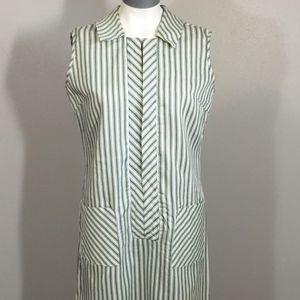 Vintage Green & White Striped Sleeveless Dress